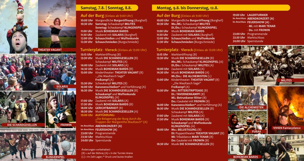 Programm Ritterfest Burg Hochosterwitz 2021 Samstag bis Donnerstag